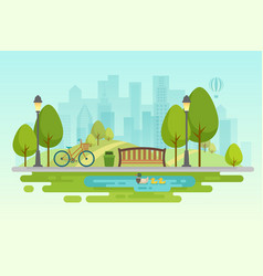 City park urban outdoor decor elements parks and vector
