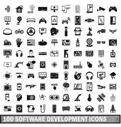100 software development icons set simple style vector