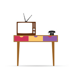 Retro table with tv and phone vector