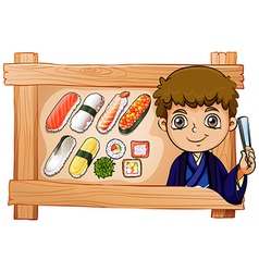 A frame with a boy beside the delectable sushi vector image