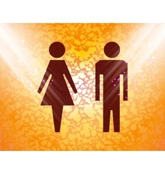 Suluet men women flat modern web button and space vector