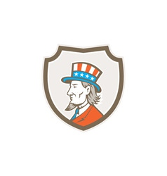 Uncle sam american side shield crest vector