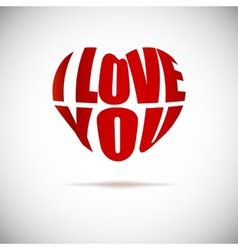 Heart formed from i love you text vector