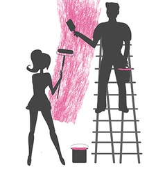 Silhouettes of two people painting a blank wall vector