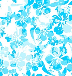 Light blue paint effect hibiscus seamless pattern vector