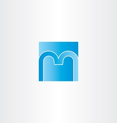 Blue square letter m logo design icon vector