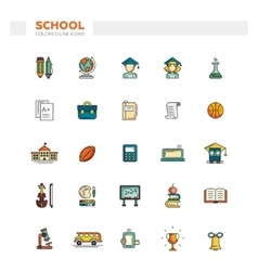 Set of school college line flat design icons and vector