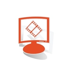 Movie monitor sticker orange vector