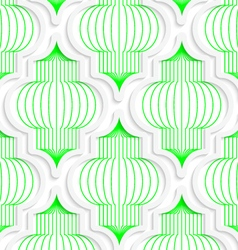 Colored 3d green vertical chinese lanterns vector