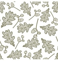 Seamless pattern of branches with acorns and oaks vector
