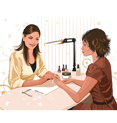 Girl doing a manicure at the beauty salon vector