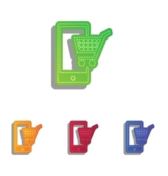 Shopping on smart phone sign colorfull applique vector