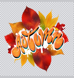 autumn text in graffiti style vector image vector image