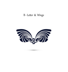 B letter sign and angel wings monogram wing logo vector