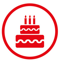 Birthday cake rounded icon vector