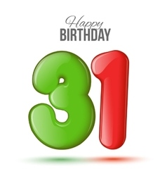 Birthday greeting card with numbers 31 thirty vector