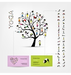 Business cards design yoga tree vector