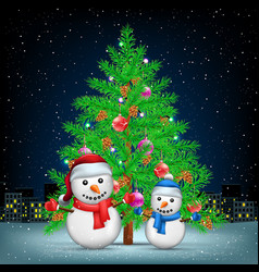 Christmas tree snowmans and night city vector
