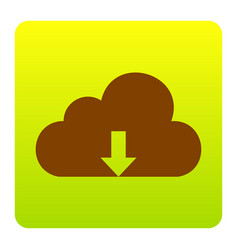 Cloud technology sign brown icon at green vector