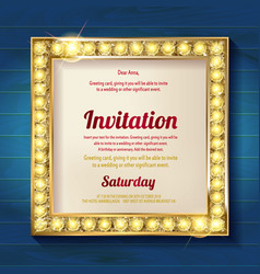Gold frame on wooden background vector