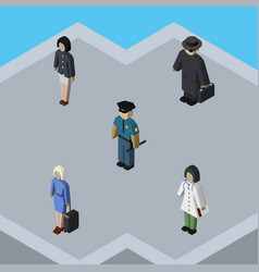 Isometric person set of girl officer detective vector