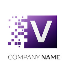 letter v logo symbol in the colorful square with vector image vector image