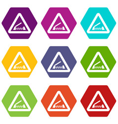 lifting bridge warning sign icon set color vector image