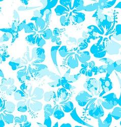 Light blue paint effect hibiscus seamless pattern vector