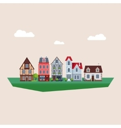 Old traditional eurpoean vintage houses vector