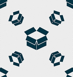 Open box icon sign Seamless pattern with geometric vector image vector image