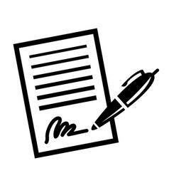 Paper business contract pen signature icon vector