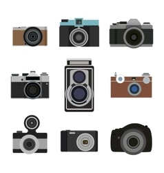 Photo camera flat icons set Retro photography vector image