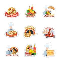 Pizza label set vector