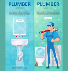 Plumbing vertical banners vector