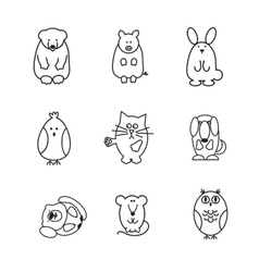 Set of animal doodle contours or icons vector