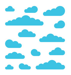 Set of cloud signs symbols for weather forecast vector
