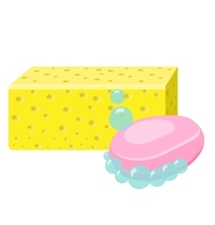 Soap sponge and foam bubbles cleaning supplies vector