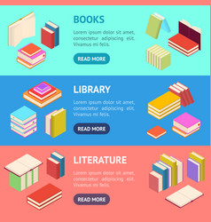 stack of color books banner horizontal set vector image