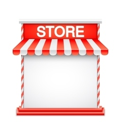 Store front with red awning vector