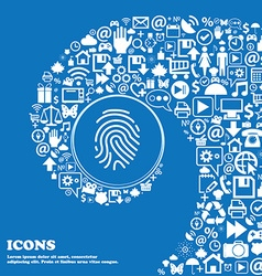 Scanned finger Icon sign Nice set of beautiful vector image