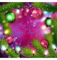 Christmas background with glowing garland vector image