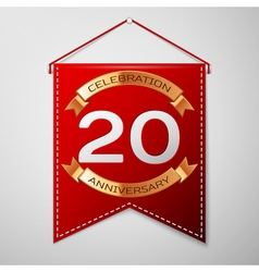 Red pennant with inscription twenty years vector
