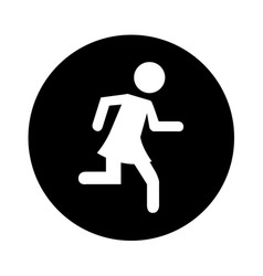 woman running silhouette emblem icon vector image