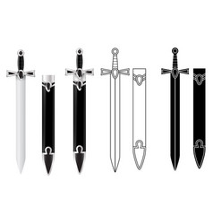 sword with scabbard flat outline image and 3d vector image