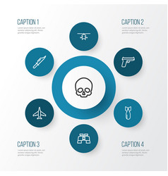 Warfare outline icons set collection of cutter vector