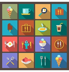 food and drink icons in flat design style vector image