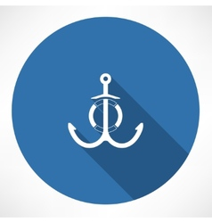 Anchor and life buoy vector