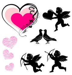 Valentines day symbols set vector