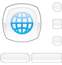 Earth white button vector