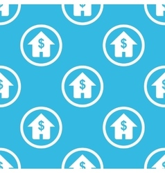 Dollar house sign blue pattern vector